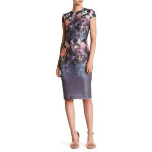 Betsey Johnson chic cap sleeve floral midi sheath